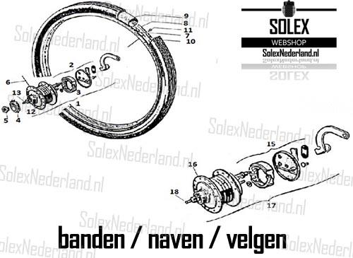 Exploded view Solex banden wielen naven