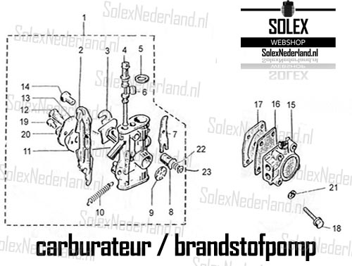 Exploded view Solex 3800 carburateur benzinepomp