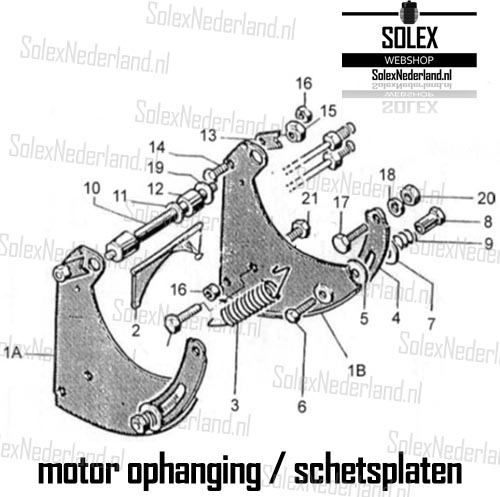 Exploded view Solex ophanging