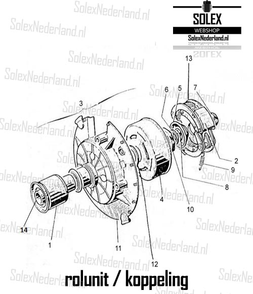 Exploded view Solex 3800 rolunit koppeling