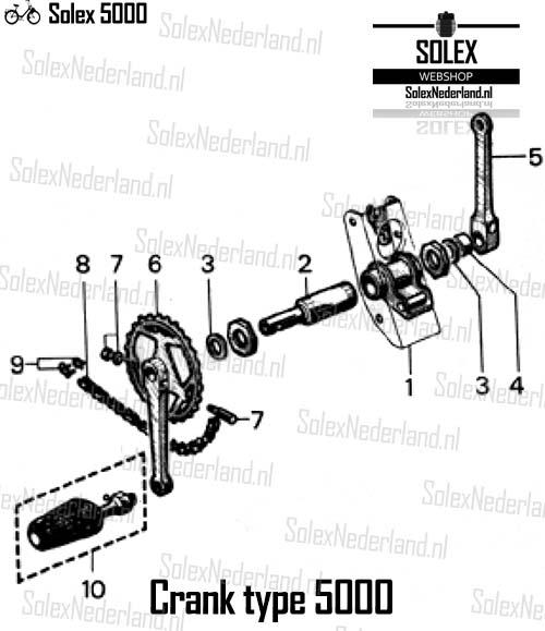 Solex 5000 onderdelen crank