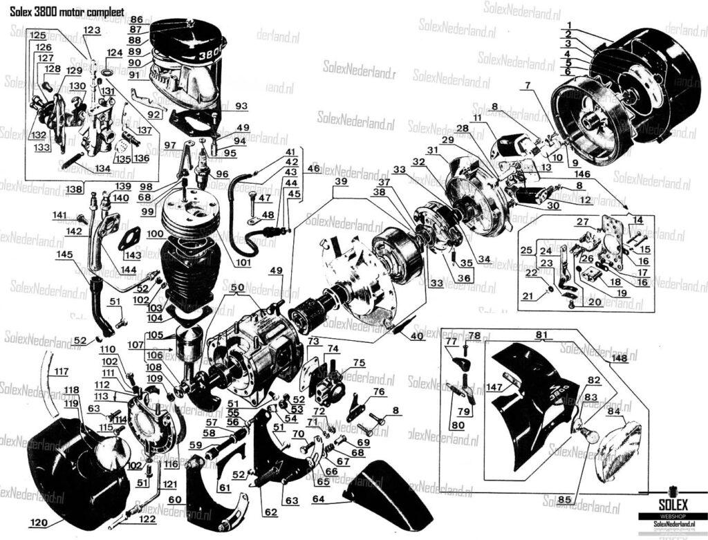 Tecnische tekening Solex 3800 Microfiche Exploded view