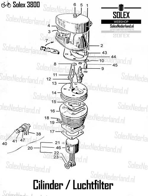 Solex 3800 onderdelen Cilinder Zuiger Luchtfilter
