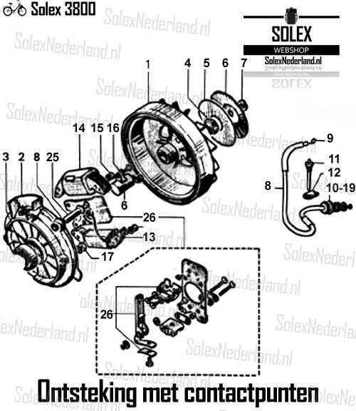 Solex 3800 onderdelen ontsteking contactpunt vliegwiel