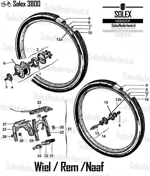 Solex 3800 onderdelen rem wiel naaf rem