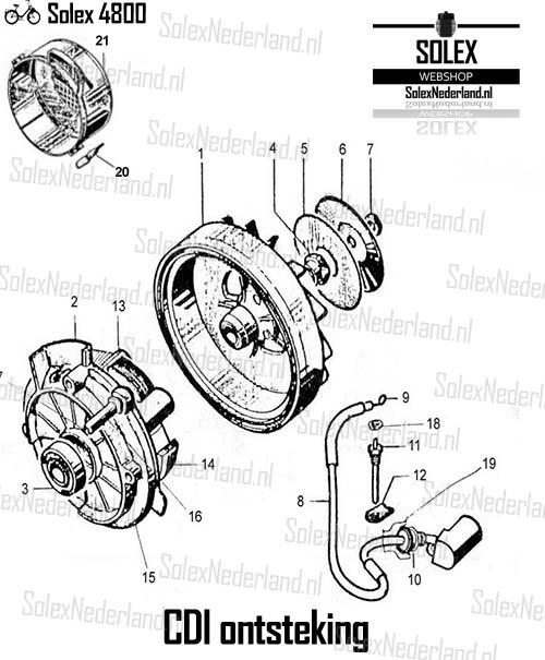 Solex 4800 onderdelen ontsteking CDI vliegwiel bobine