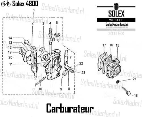 Solex 4800 onderdelen carburateur benzinepomp