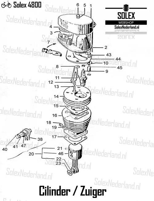 Solex 4800 onderdelen cilinder zuiger luchtfilter