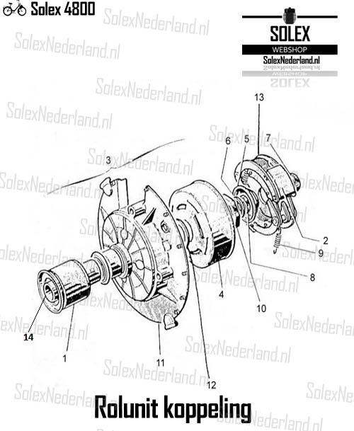 Solex 4800 onderdelen rolunit koppeling